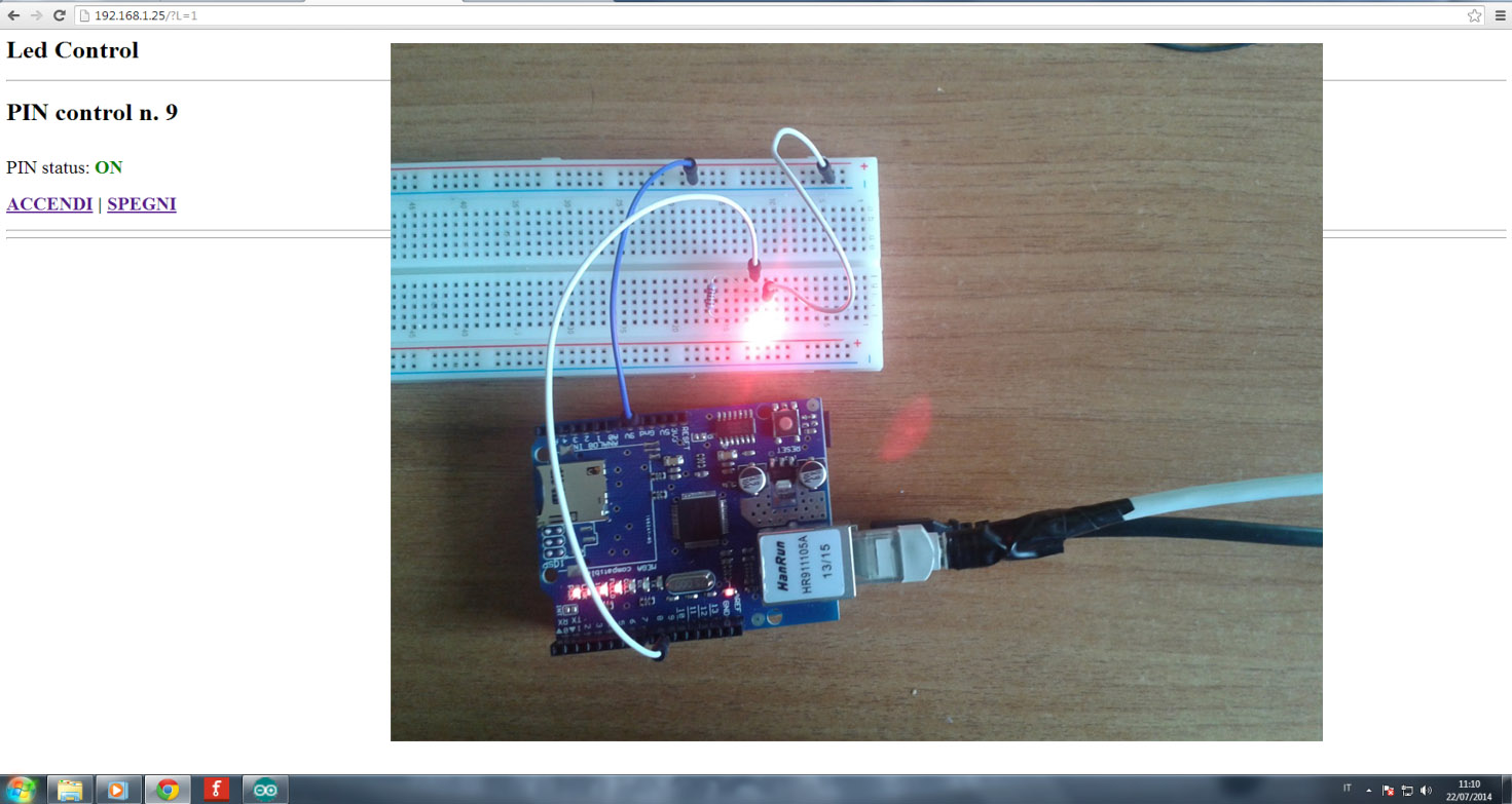 arduino led control on