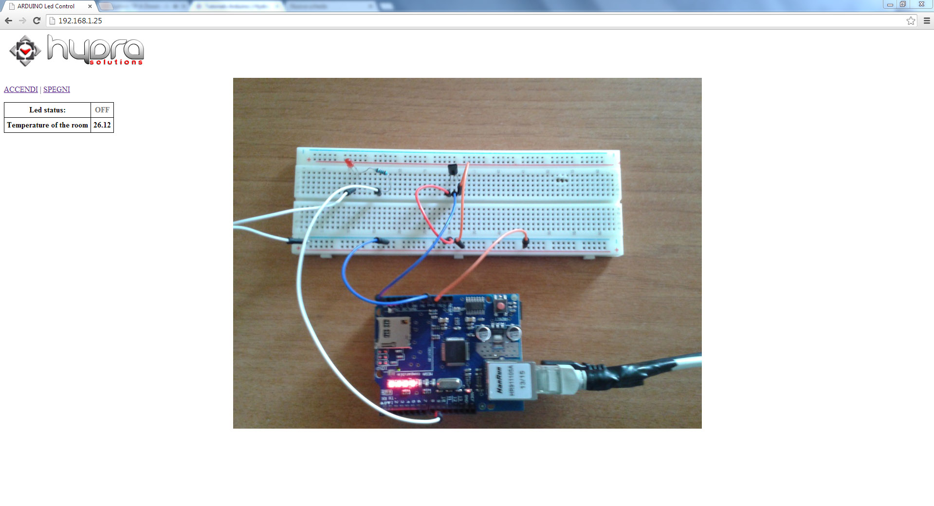 arduino led temperature off