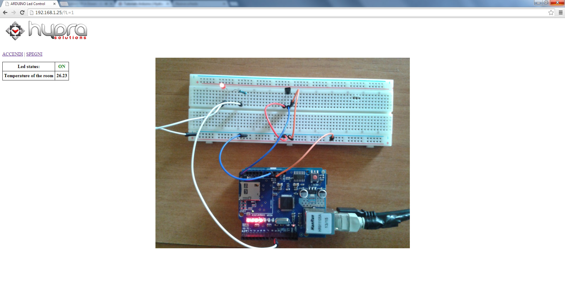 arduino led temperature on